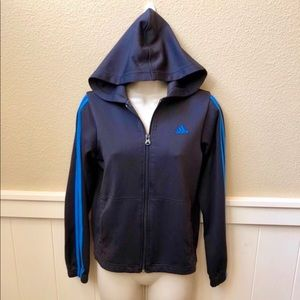 Full zip up Adidas hooded navy jacket. Sz M